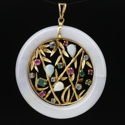 14K Sapphire, Ruby, Emerald and Opal in a Jadeite Hololith Pendant
