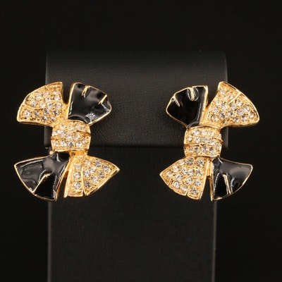 Givenchy Enamel and Rhinestone Bow Earrings