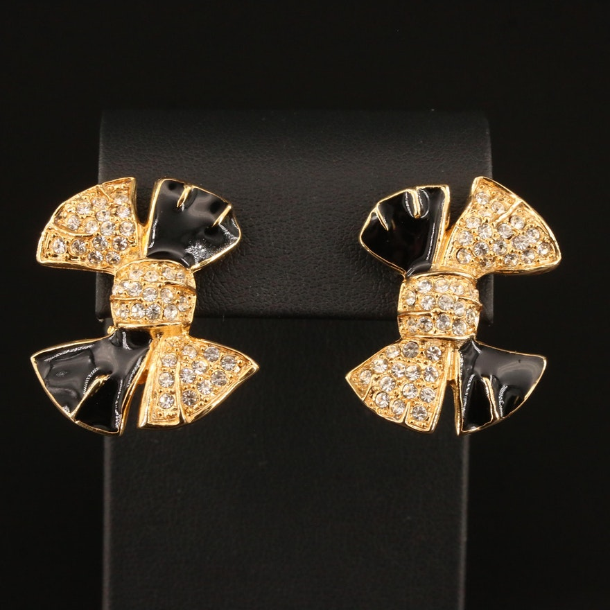 Givenchy Enamel and Rhinestone Bow Earrings