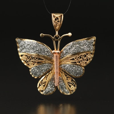 10K Glitter Filigree Butterfly Pendant with Rose Gold Accents