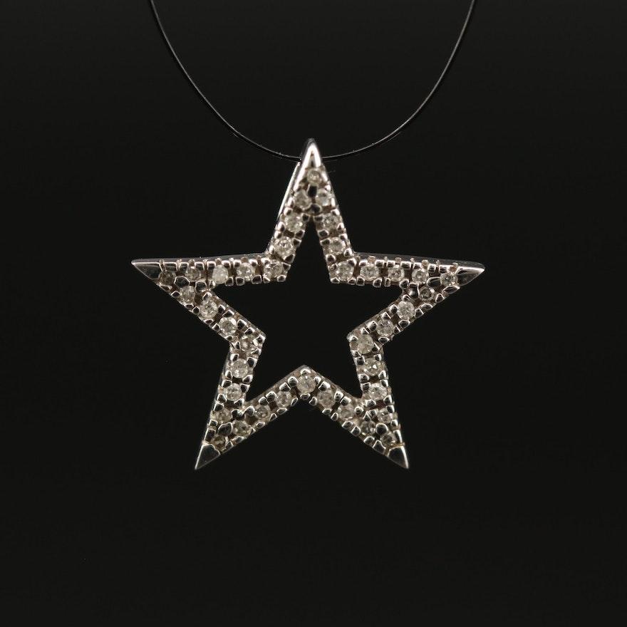 10K Diamond Open Star Pendant