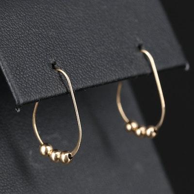 14K Gold Bead Accented Hoop Earrings