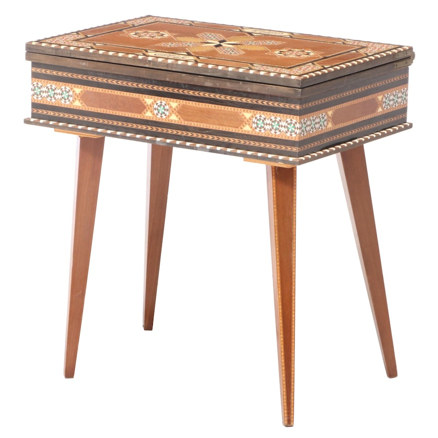 Anglo-Indian Wood Inlay Flip Top Board Games Table, Mid-Late 20th Century