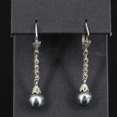 Sterling Silver Pearl and Marcasite Drop Earrings