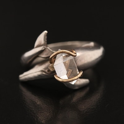 Sterling Silver Rock Crystal Whale Motif Ring