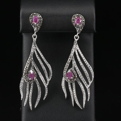 Sterling Corundum and Marcasite Feather Motif Earrings