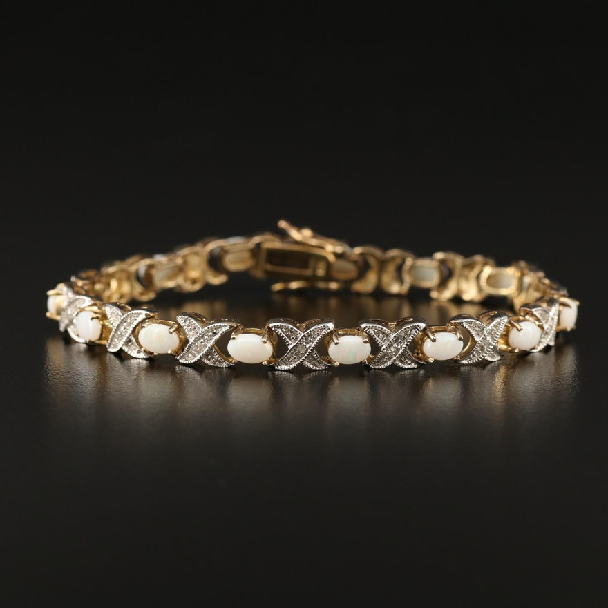 Sterling Opal and Diamond Line Bracelet