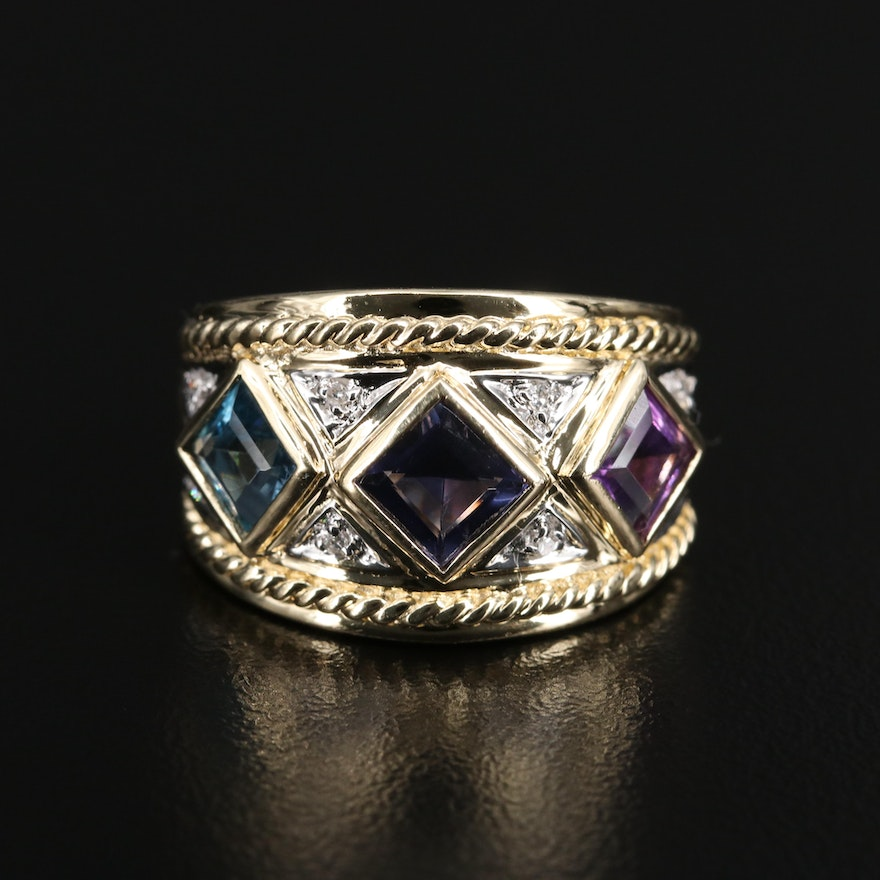14K Iolite, Amethyst and Topaz Tapered Ring with Diamond Accents