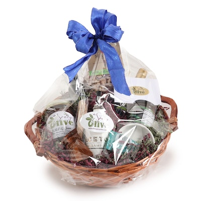 """The Spicy Olive"" Gift Basket with Oil, Vinegar and Fig Jam"