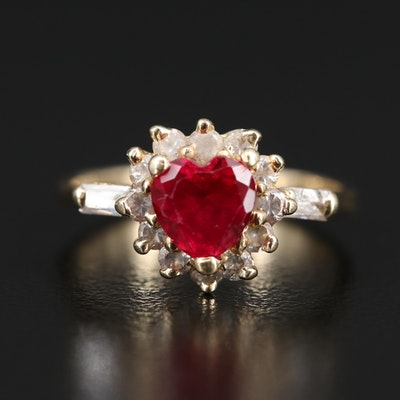 14K Ruby and Cubic Zirconia Heart Ring