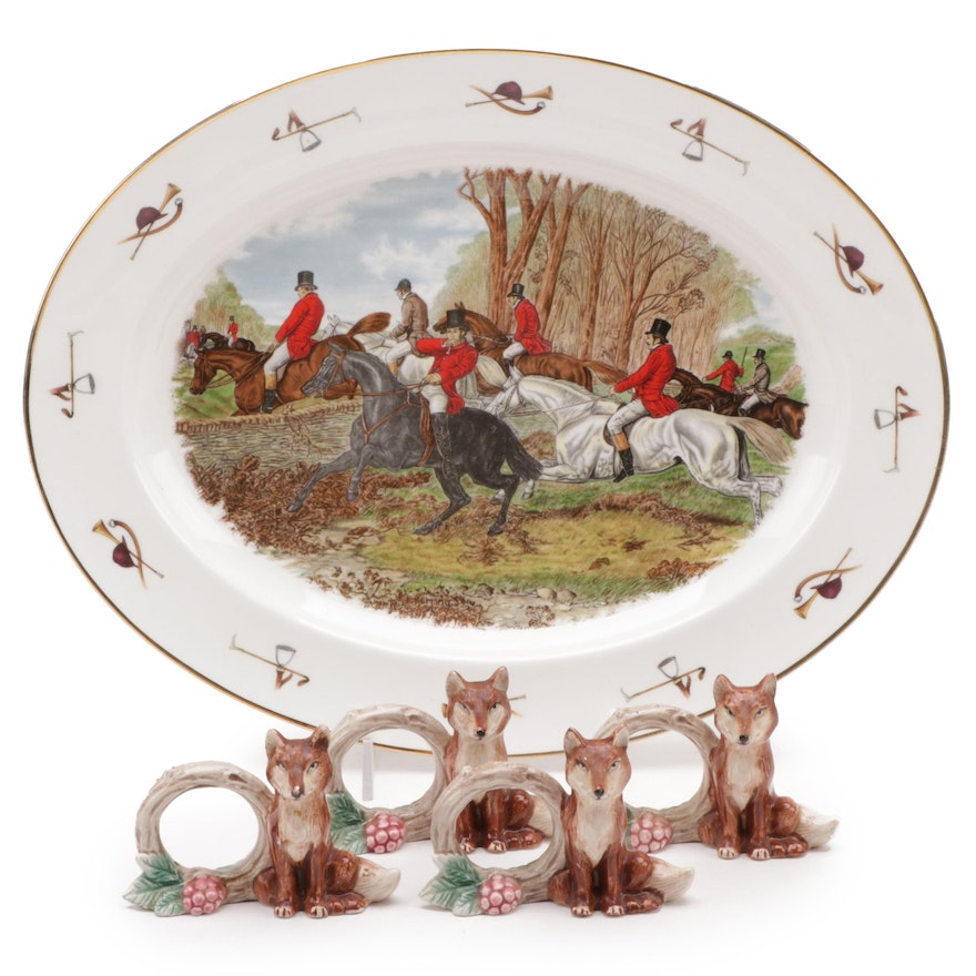 "Staffordshire ""The Famous Herring Hunting Scene"" China and Fox Napkin Rings"