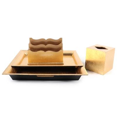 Home Essentials & Beyond Gold Lacquer Bathroom Vanity Set