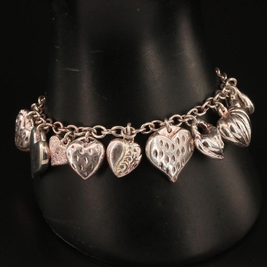 Jacmel Mauritius Sterling Silver Heart Charm Bracelet