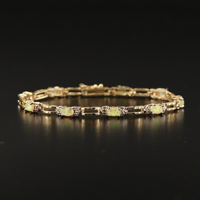 Sterling Opal and Diamond Openwork Bracelet