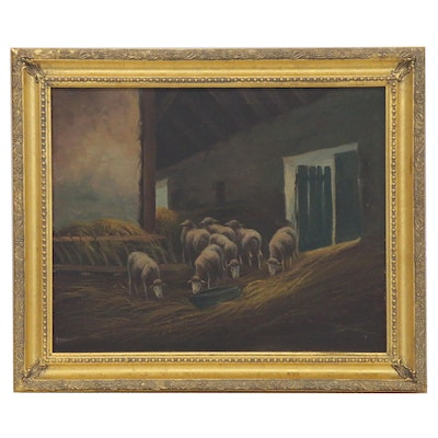 Oil Painting of Sheep in a Barn, 19th Century