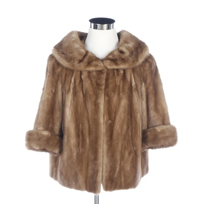 Mink Fur Coat with Three-Quarter Length Cuffed Sleeves