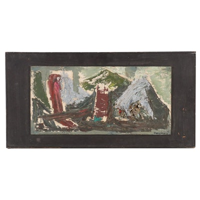 Louise Pershing Impasto Oil Painting, Mid-20th Century