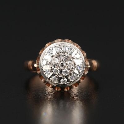 Russian 14K Diamond Scallop Ring