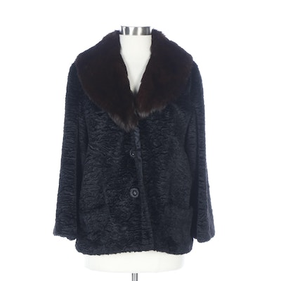 Union Made Faux Persian Lamb Fur Coat in Black with Rabbit Fur Collar