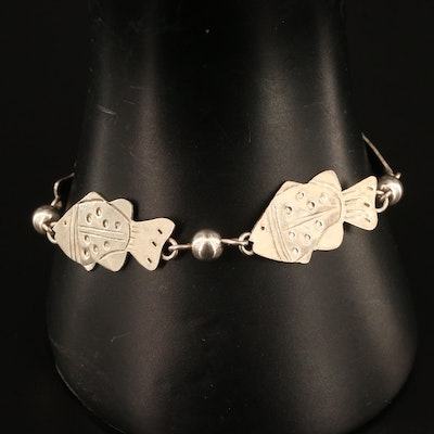 Mexican Sterling Silver Fish Motif Bracelet