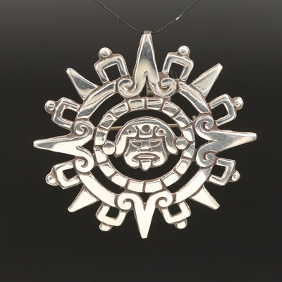Mexican Sterling Silver Aztec Sun Stone Converter Brooch