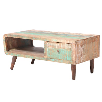 Modernist Style Polychromed Hardwood Two-Tier Coffee Table