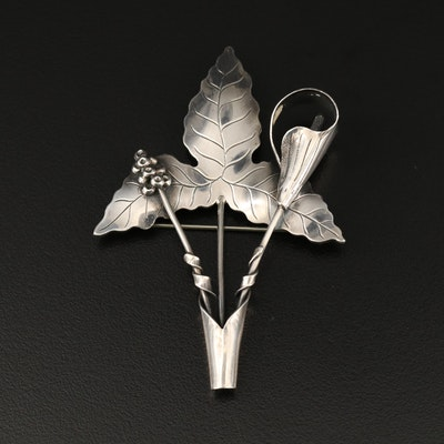Sterling Floral and Foliate Motif Brooch
