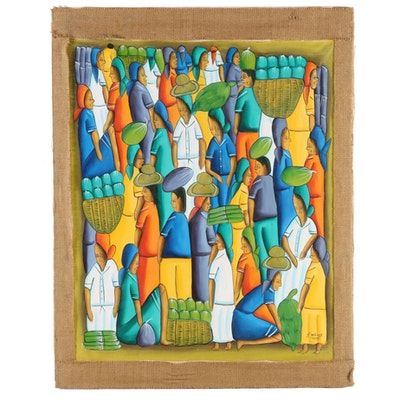 Haitian Folk Art Style Oil Painting of Market Scene
