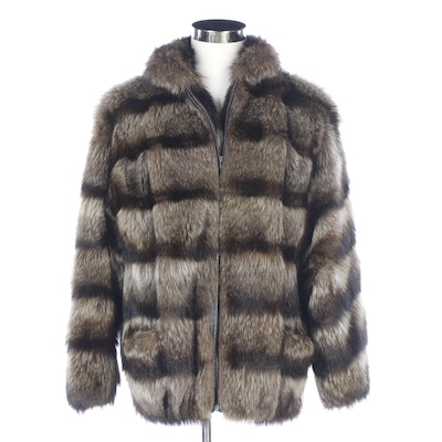 Raccoon Fur Zipper-Front Jacket