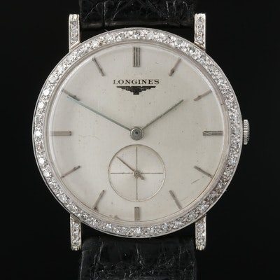 Longines 18K Gold and Diamonds Stem Wind Wristwatch,Circa 1957