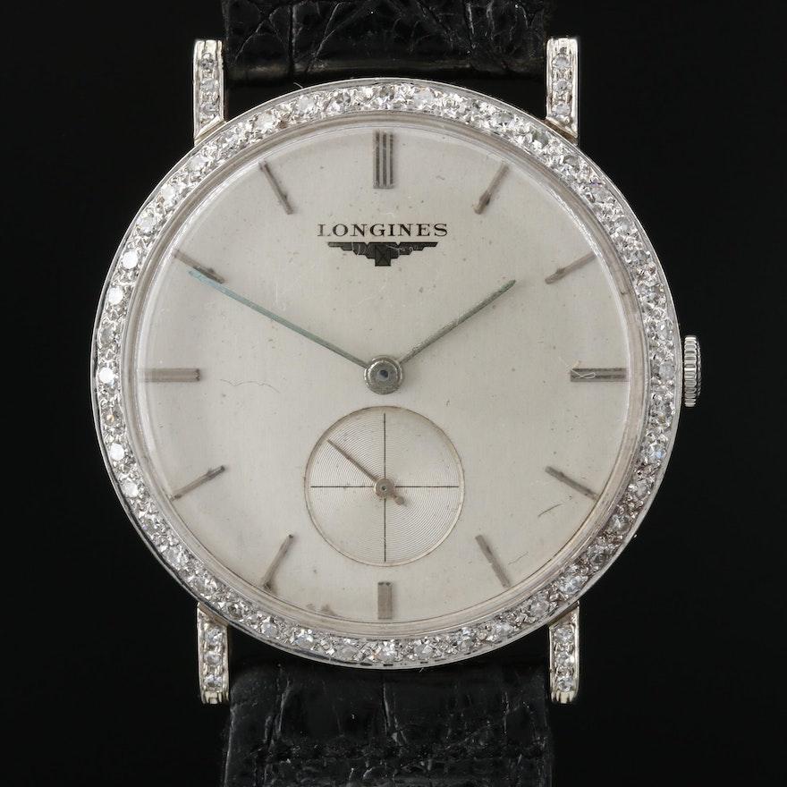 Longines 18K Gold and Diamonds Stem Wind Wristwatch,Circa 1957