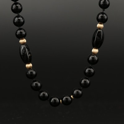 Black Onyx Beaded Necklace with 14K Accents