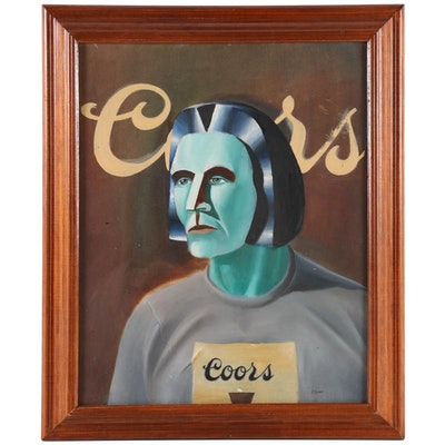 """Paul Feight Oil Painting """"Self-Portrait as Coors Man,"""" 1972"""