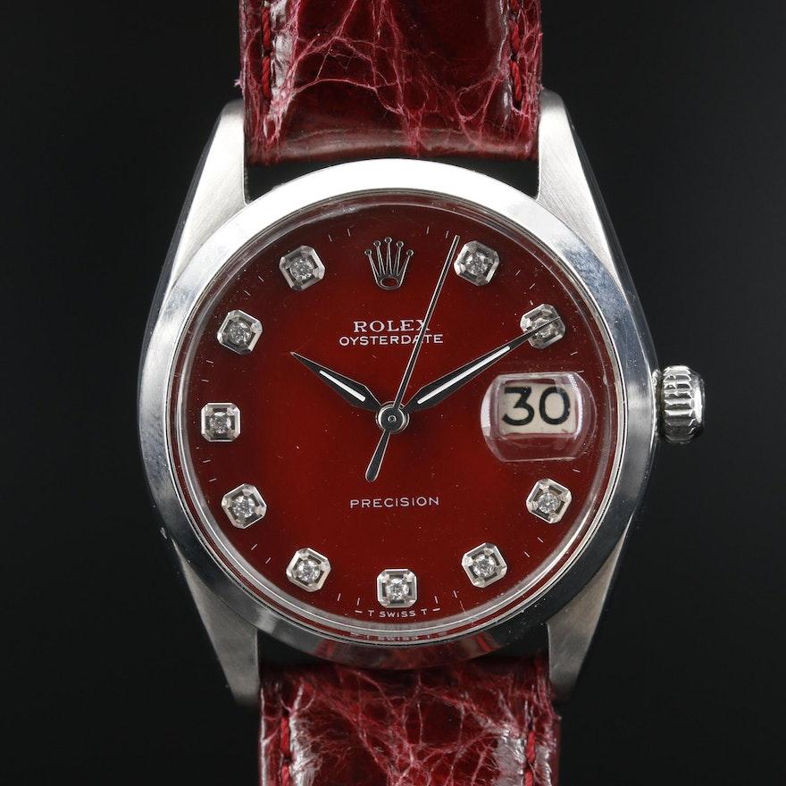 1964 Rolex Oysterdate Precision Stainless Steel and Diamond Stem Wind Wristwatch