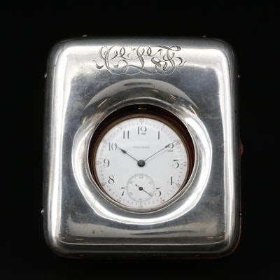 1901 Waltham Pocket Watch in Sterling Silver Case Top Case