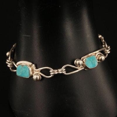Artist Signed Sterling Silver Turquoise Bracelet