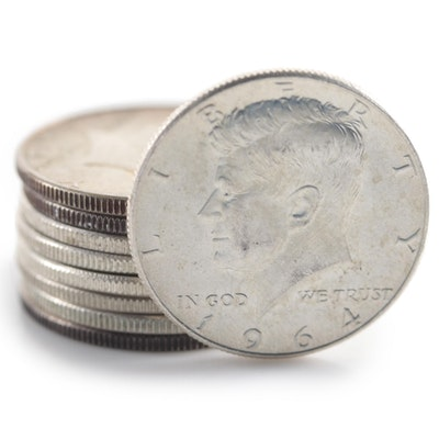 Nine 1964 Kennedy Silver Half Dollars