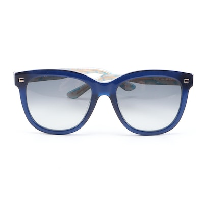 ETRO ET622S Navy Blue Paisley Horn-Rimmed Sunglasses with Case