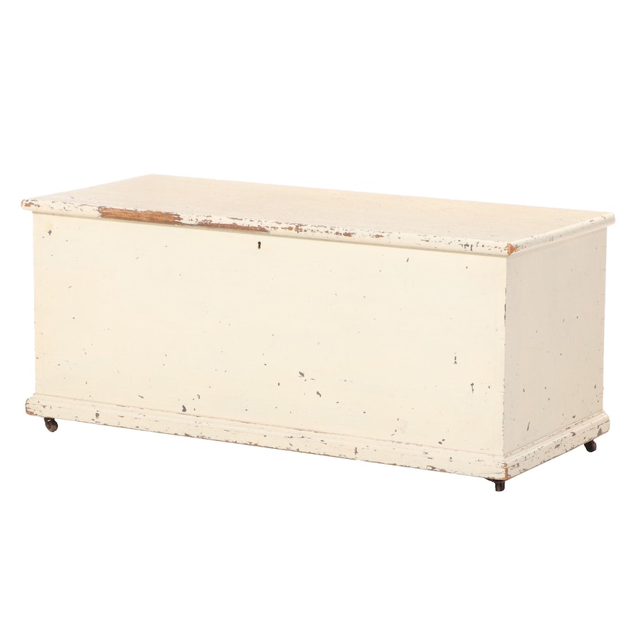 American Primitive Painted Pine and Poplar Blanket Chest, 19th Century