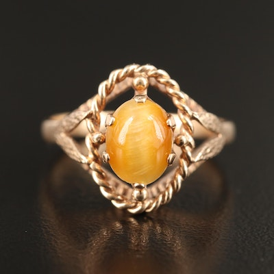 Vintage 10K Tiger's Eye Ring with Foliate Accent