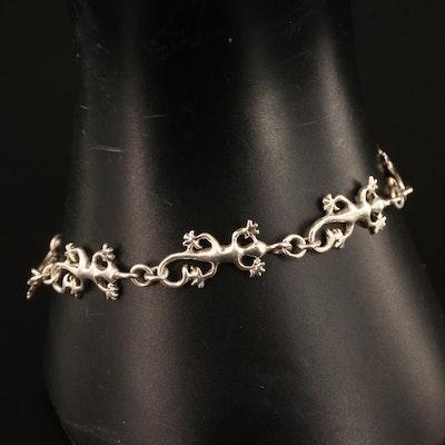 Sterling Gecko Motif Bracelet