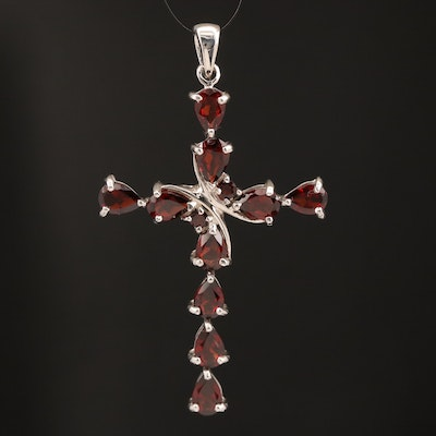 Sterling Silver Garnet Cross Pendant