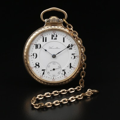1914 Hamilton Railroad Grade 12K Gold Filled Pocket Watch