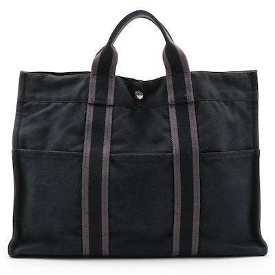 Hermès Paris Fourre Tout in Black Cotton Canvas