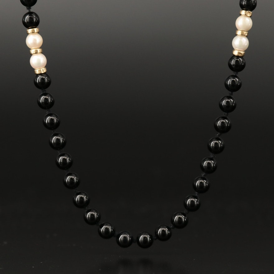 Black Onyx and Pearl Necklace with 14K Clasp and Spacer Beads