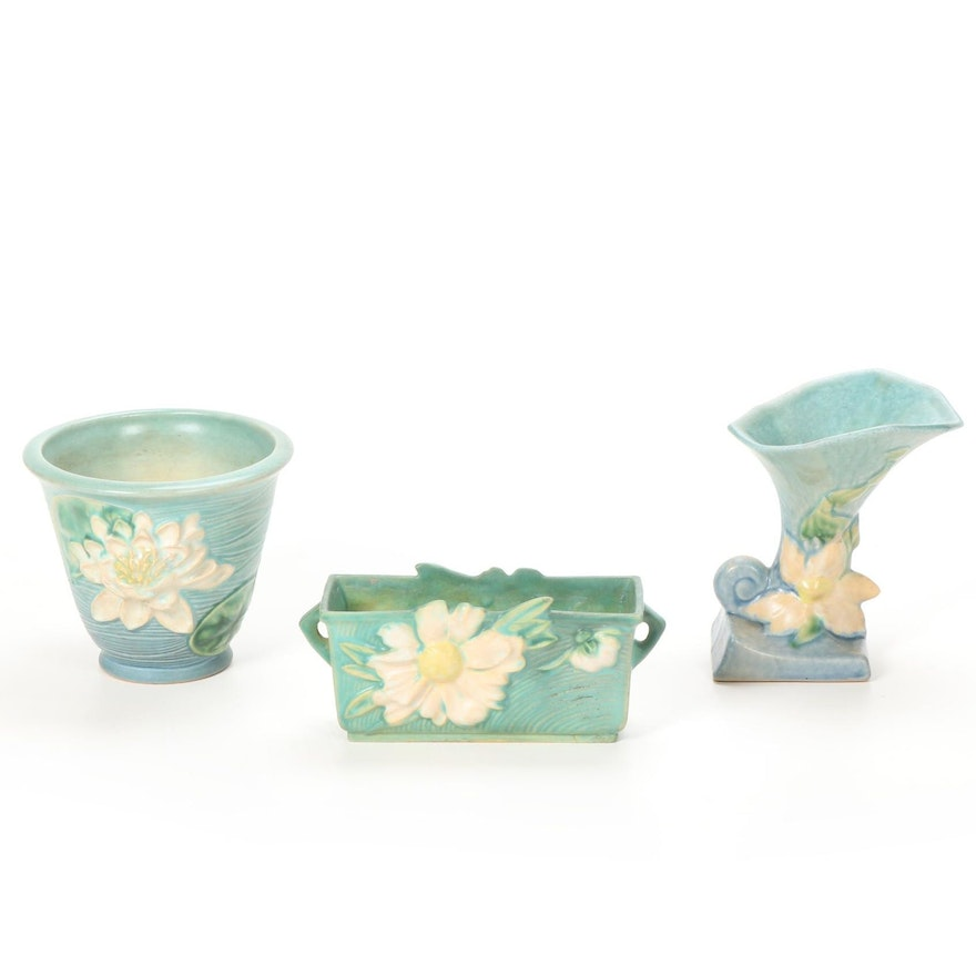 "Roseville ""Clematis"" Vase with ""Water Lily"" and ""Peony"" Planters, 1940s"