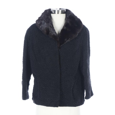 Black Persian Lamb Jacket with Mink Fur Collar from Shillito's Fur Salon