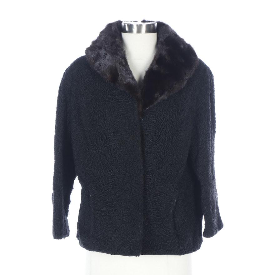 Black Persian Lamb Jacket with Mink Fur Collar from Shillito's Fur Salon
