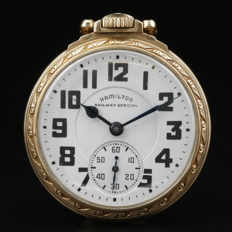 "1941 Hamilton ""Railway Special"" 10K Gold Filled Pocket Watch"