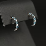 14K Topaz J Hoop Earrings